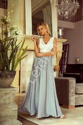 Suknia na wesele, wieczorowa długa srebrno biała -  juliette