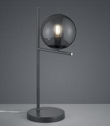 Nowoczesna lampa stołowa z dymionym kloszem szklanym pure