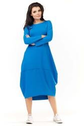 Niebieska dzianinowa midi sukienka bombka z długim rękawem