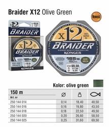 Plecionka konger braider x12 olive green 0,25mm 150m 31,60kg