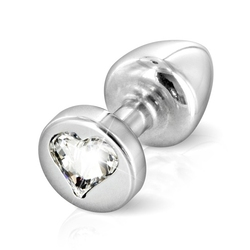 Zdobiony plug analny - diogol anni r butt plug heart silver 25 mm serce srebrny