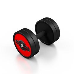 Hantla stalowa gumowana 10 kg czerwony połysk - marbo sport - 10 kg