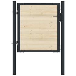 Vidaxl furtka ogrodzeniowa, stal i drewno świerkowe, 107x150 cm