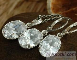 Flavia - srebrny komplet z kryształami swarovskieg