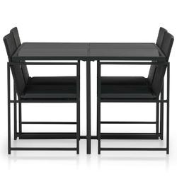 Zestaw ogrodowy stół + krzesła 4 osoby parta czarny
