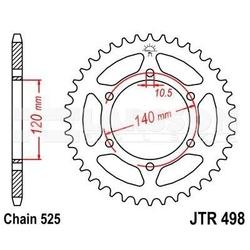 Zębatka tylna stalowa jt 498-38, 38z, rozmiar 525 2301317 kawasaki w 650