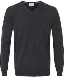 Sweter  pulower v-neck z wełny z merynosów artacyntowy l