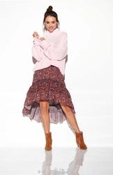 Oversizowy różowy ciepły sweter z półgolfem