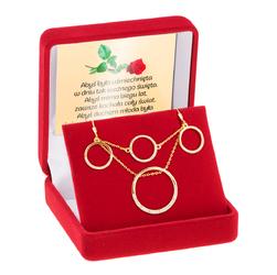 Srebrny Komplet 3 elementy pr 925 Okrąg z cyrkoniami Dedykacja