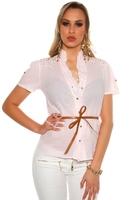 Jasno różowa koszula damska zdobiona jetami na ramionach| bawełniana bluzka koszulowa 6099