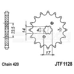 Zębatka przednia jt f 1128-14, 14z, rozmiar 420 2201638 derbi senda 50