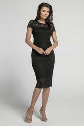 Sukienka koronkowa midi czarna wieczorowa kreacja
