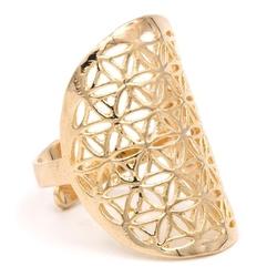 Kwiat życia - pierścień mosiądz - kolor złoty