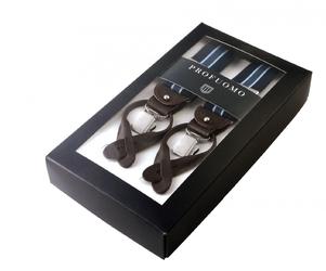 Granatowe szelki męskie do spodni, w białe kropki, uniwersalne na guziki lub na klipsy