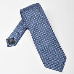 Niebieski krawat jedwabny w niebieski mikrowzór
