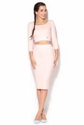 Bawełniany komplet midi spódnica + krótka bluzka - różowy