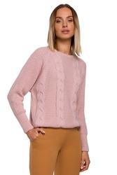 Sweter w warkocze ze ściągaczami - różowy