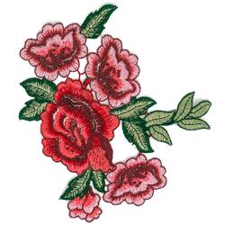 NASZYWKA APLIKACJA czerwone kwiaty RÓŻE