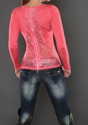 Koronkowy sweter, koralowy, jesienno zimowe 044
