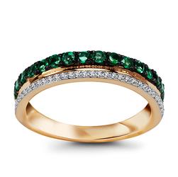 pierścionek złoto 58514k diamenty i szmaragdy