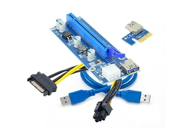Elmak Riser PCI-Express 1x - 16x, USB 3.0, 6pin Sata 0009s