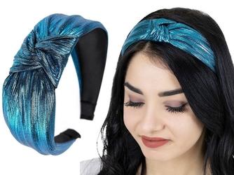 Opaska do włosów supeł węzeł niebieska metaliczna