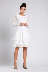Ecru wizytowa sukienka z obniżonym stanem z koronką