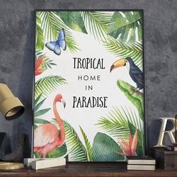 Plakat w ramie - tropical home in paradise , wymiary - 70cm x 100cm, ramka - czarna