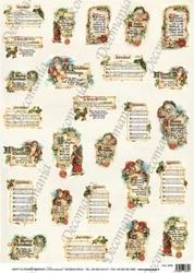 Papier ryżowy Decomania 35x50 cm Święta Napisy