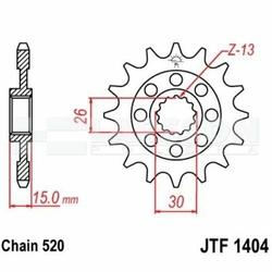 Zębatka przednia JT F 1404-16, 16Z, rozmiar 520 2201659 BMW S 1000