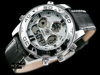 Czarno-biały zegarek meski na pasku PERFECT A856 - DUAL TIME zp208a