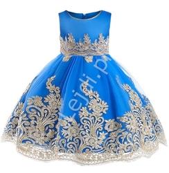 Chabrowa sukienka dla dziewczynki na wesele, urodziny, dziecięca ze złotym haftem