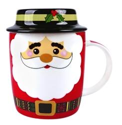 Kubek porcelanowy świąteczny dla dzieci  na prezent altom design wesoły mikołaj z pokrywką 330 ml