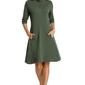 Krótka sukienka ze stójką i ozdobnym suwakiem zielona m349