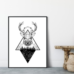 Plakat w ramie - mountains deer , wymiary - 50cm x 70cm, ramka - biała