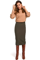 Khaki spódnica z odcinanym pasem