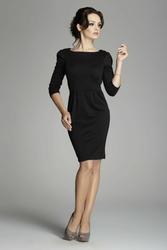 Czarna klasyczna elegancka sukienka z rękawem 34