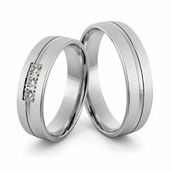 Obrączki ślubne z białego złota niklowego z brylantami - Au-1000