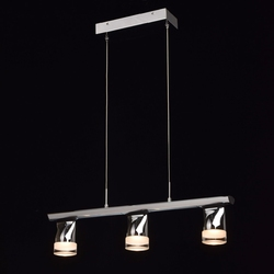 Nowoczesna lampa wisząca do jadalni, 3xled, chromowana listwa regenbogen techno 110010203