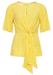 Bluzka w paski, z ozdobnym przewiązaniem bonprix żółty kanarkowy - biały w paski