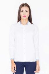 Biało-niebieska klasyczna koszula z długim rękawem