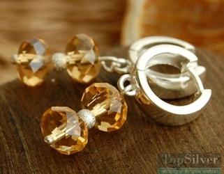 Disco - srebrne kolczyki z miodowym kryształem
