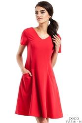 Czerwona Trapezowa Sukienka z Kieszeniami
