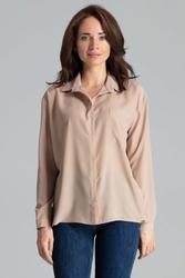 Beżowa prosta koszula z kieszonką na piersi