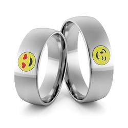 Obrączki ślubne z białego złota niklowego emotki emalia - au-988