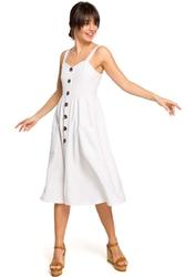 Ecru midi sukienka na szelkach z ozdobnymi guzikami