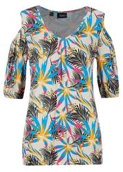 Shirt z krótkim rękawem z wycięciami, nadrukiem i gumką bonprix jasny piaskowy w roślinny wzór