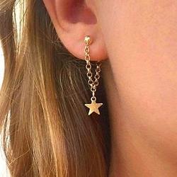 Kolczyki wiszące gwiazdki złote