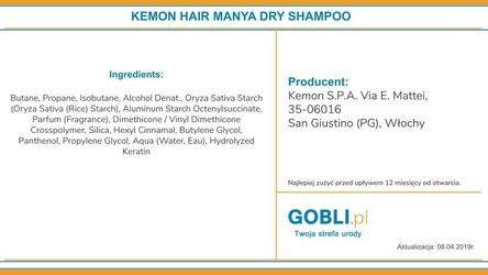 Kemon hair manya dry shampoo, suchy szampon do włosów 200ml