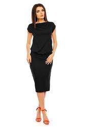 Czarna letnia midi sukienka bez rękawów